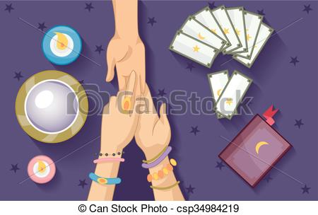 Vector Clip Art of Gypsy Fortune Telling Elements Palm Reading.
