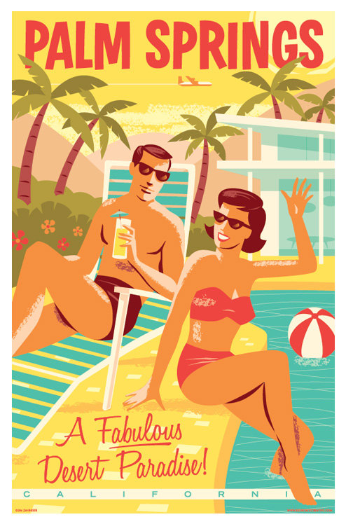 Palm Springs Retro Travel Poster Print by RedRobotCreative on Etsy.
