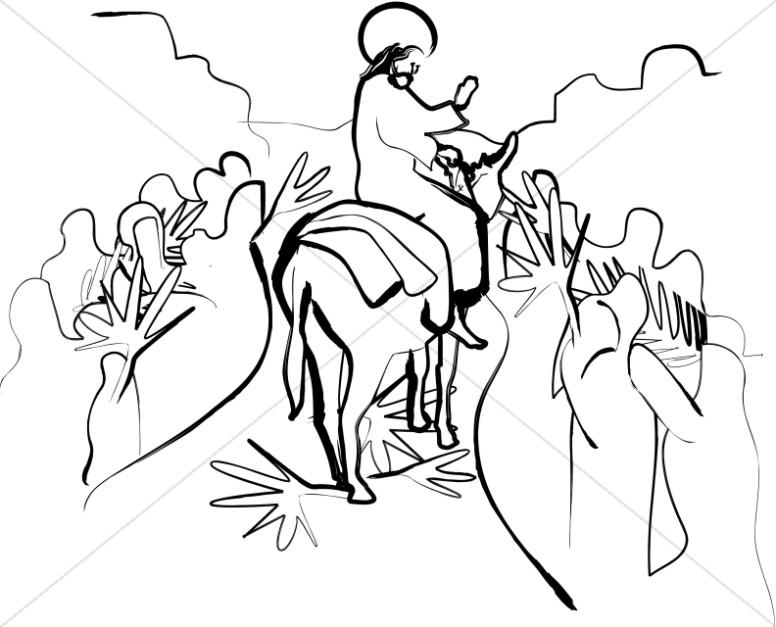 Jesus Riding on Palm Sunday.