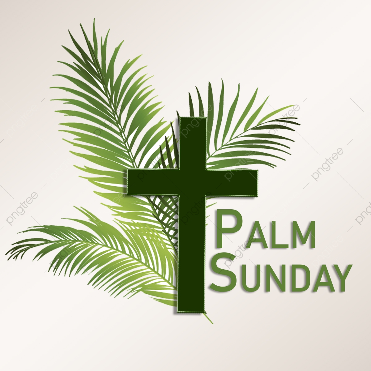 Palm Sunday With Leaves And Cross Background, Palm, Sunday.