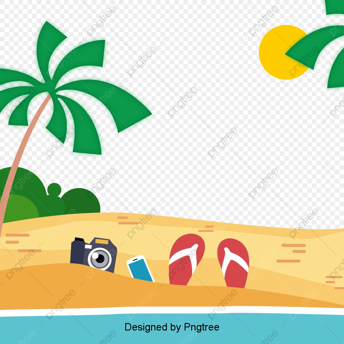 Cartoon Hand Painted Beach Design, Travel, Palm Tree, Beach.