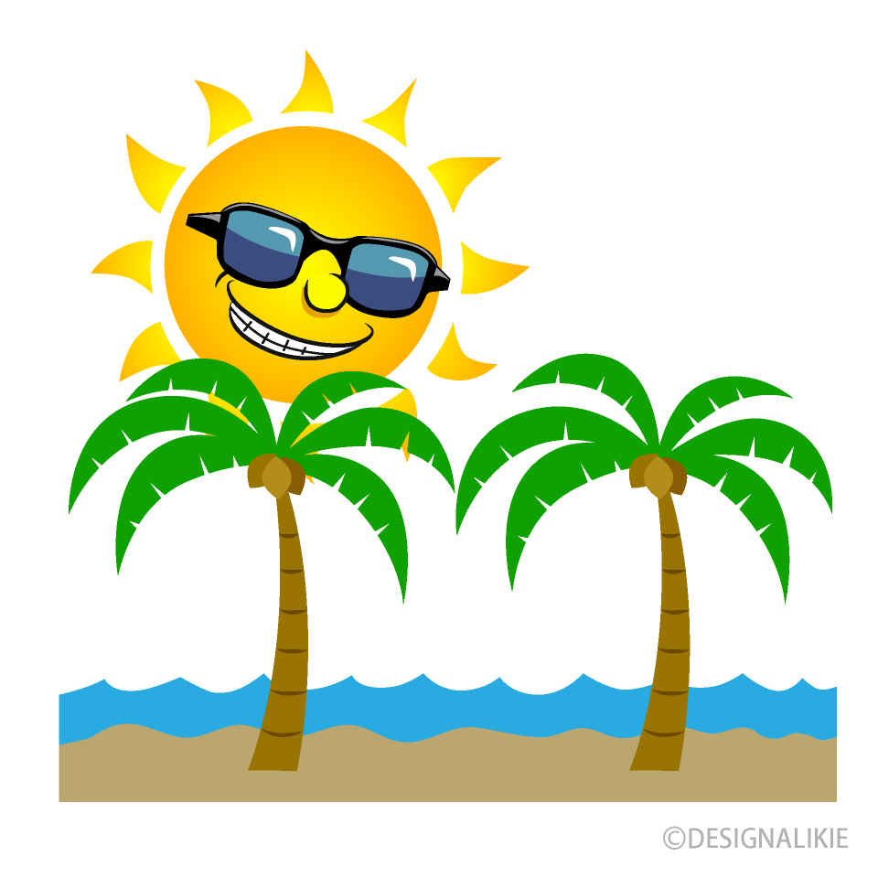 Sun and Palm Trees Cartoon Free Picture|Illustoon.