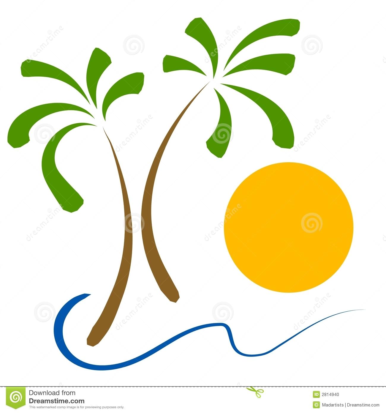 Palm Trees Beach Sun Clip Art.