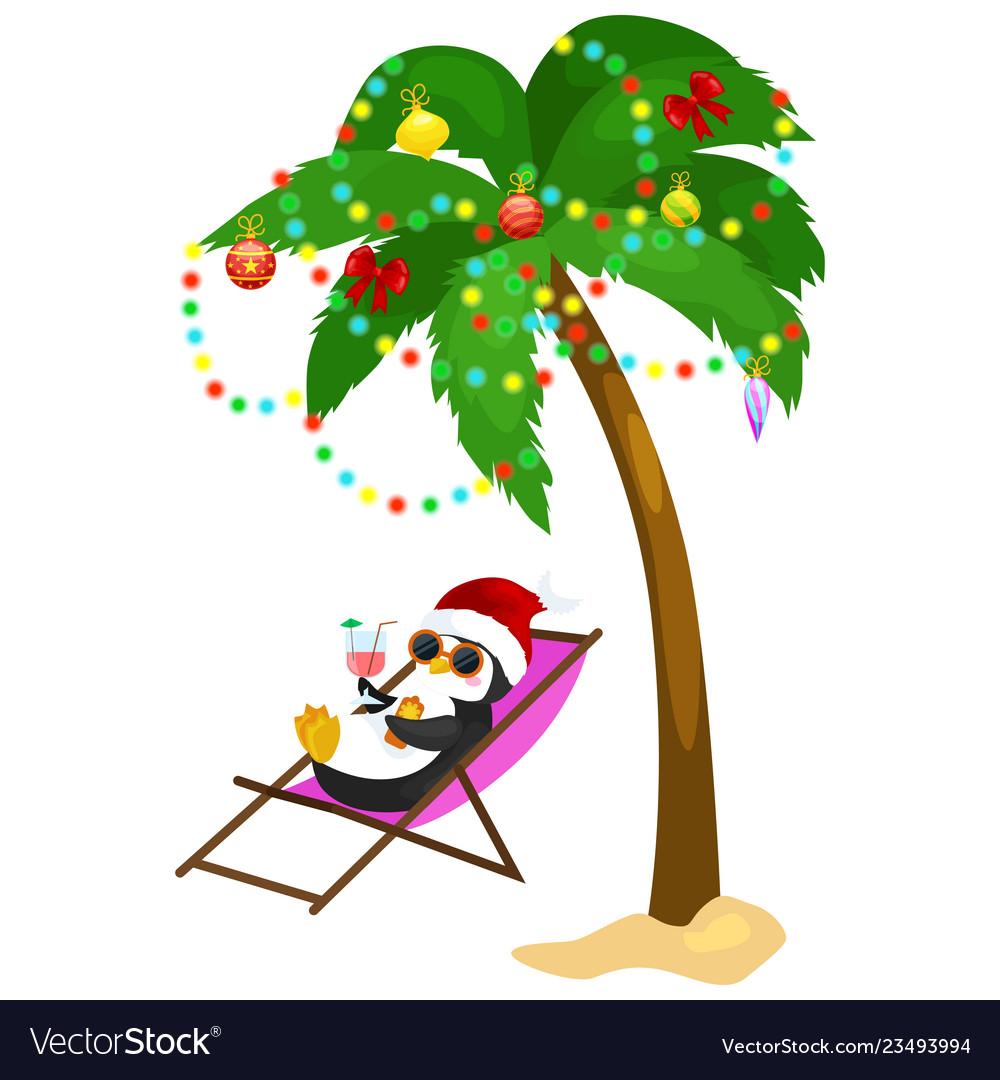 Cartoon penguin laying in hammock under palm tree.