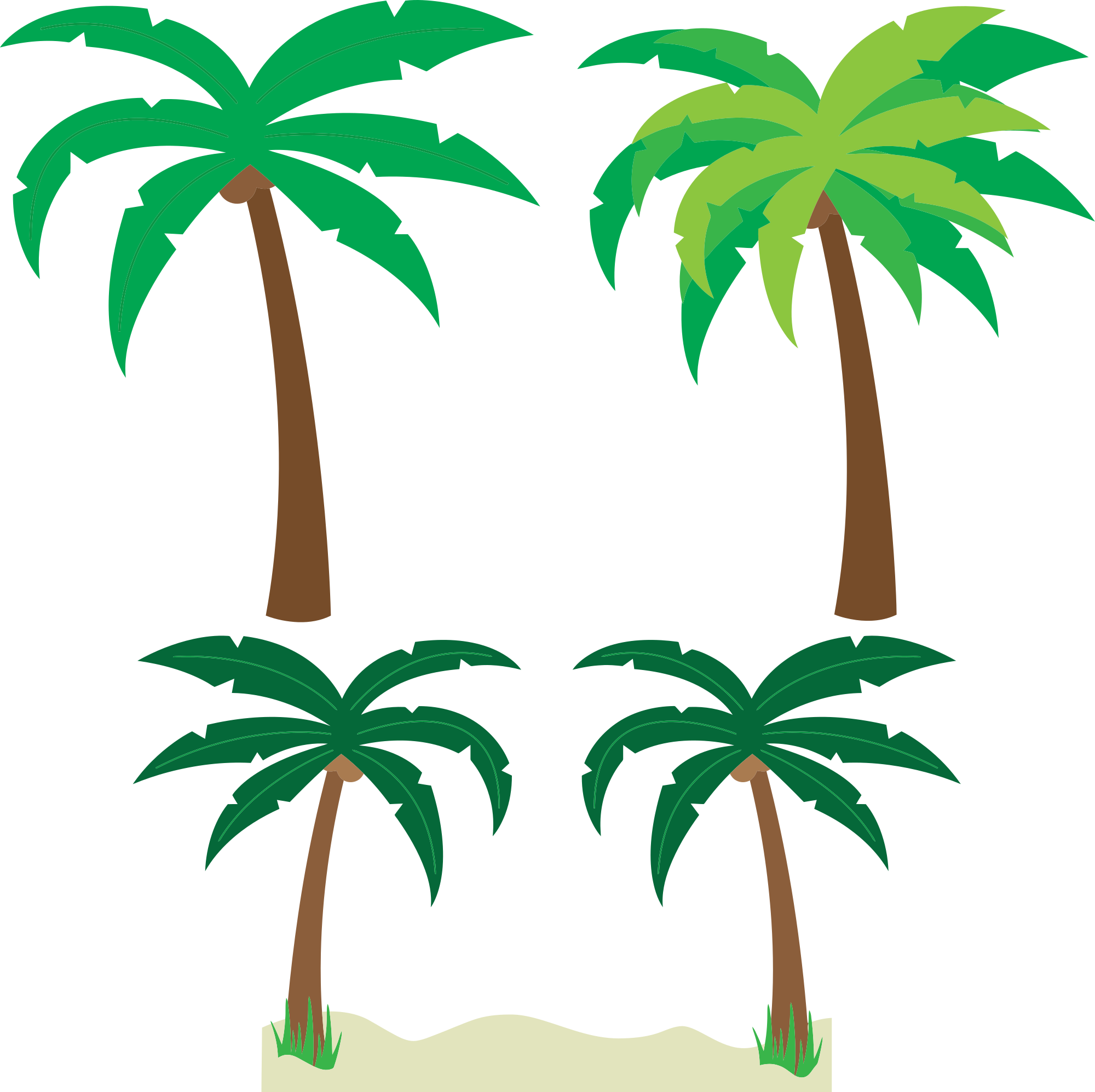 Free cartoon palm trees clipart clipart and vector image.