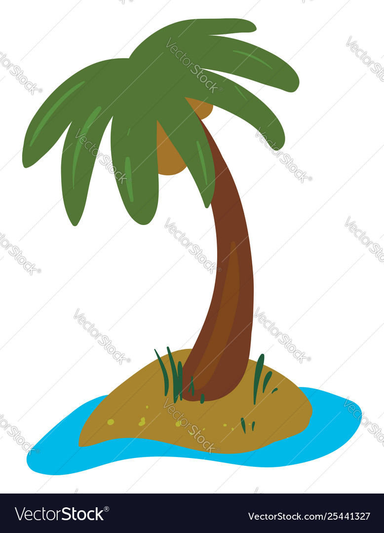 Clipart palm tree grown in land.