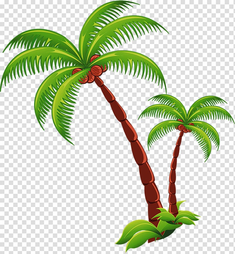 Green and maroon trees illustration, Coconut Beach Computer.
