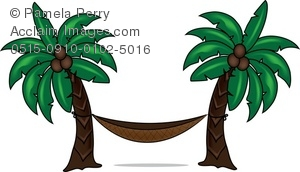Clip Art Illustration of a Hammock Between Two Palm Trees.