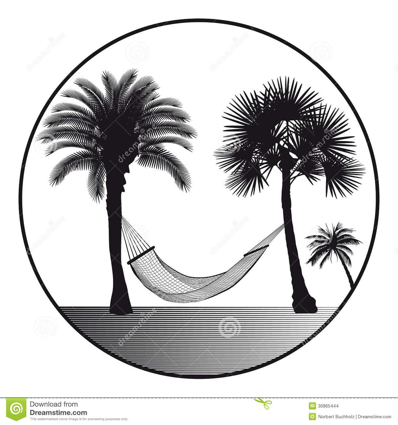 Palm Tree Hammock Stock Illustrations.