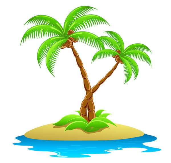 Island with palm trees clipart.