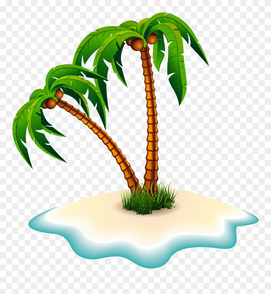Palm Trees And Island Clipart Image.