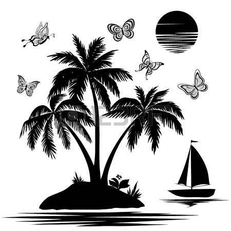 palm tree black white: Tropical sea island with palm trees.