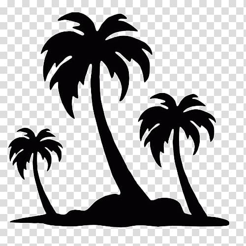 palm tree island clipart black and white #6