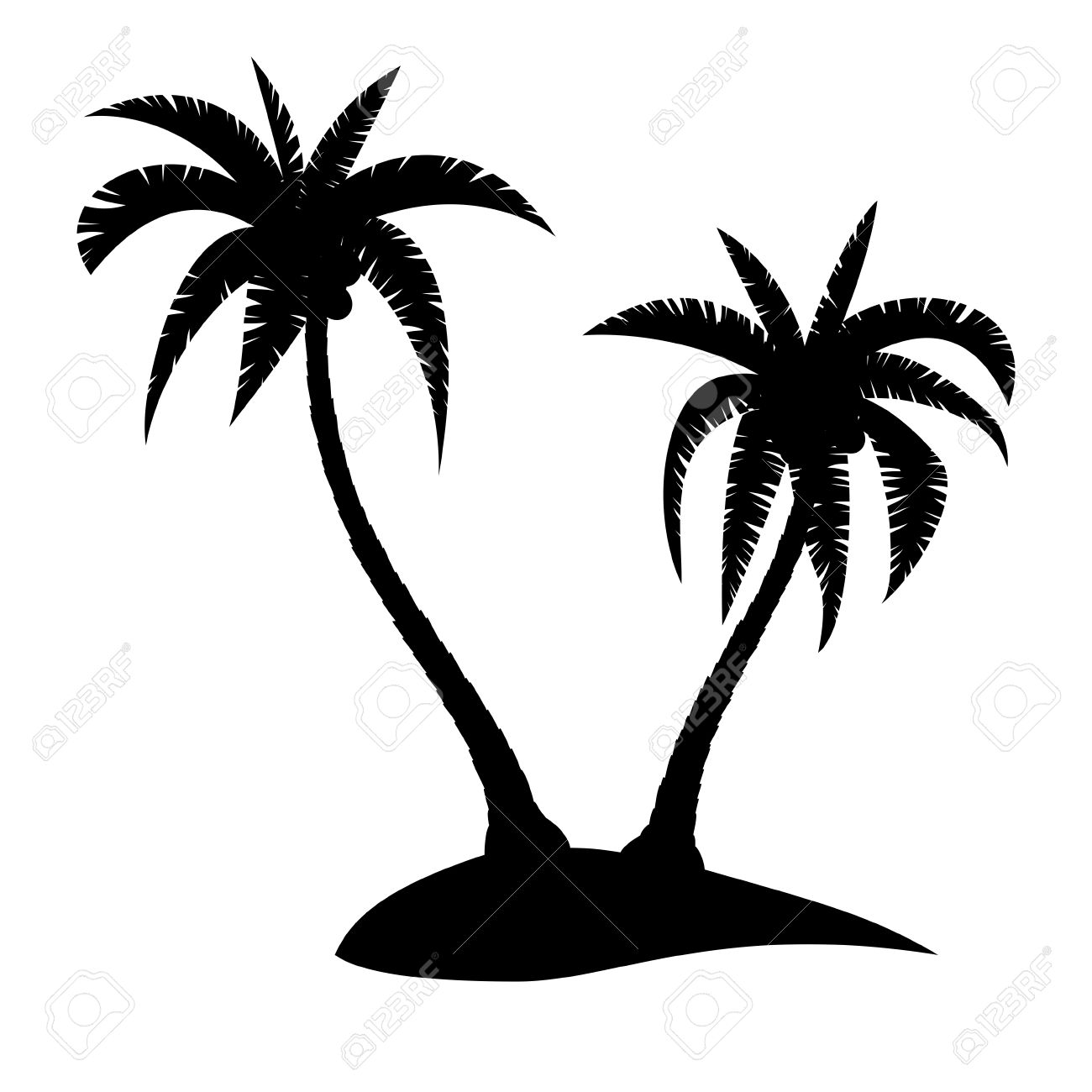 palm tree island clipart black and white #5