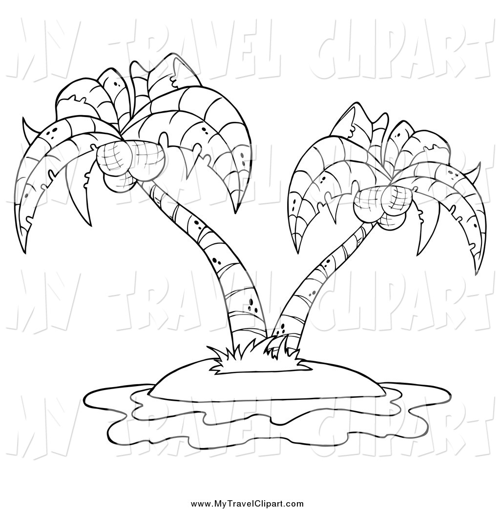 Clipart of a Black and White Double Palm Tree on an Island.