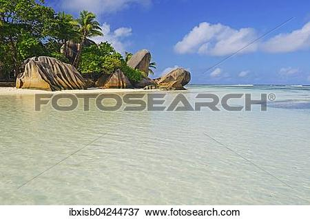 Picture of Source d'Argent beach, rocks and palm trees, La Digue.