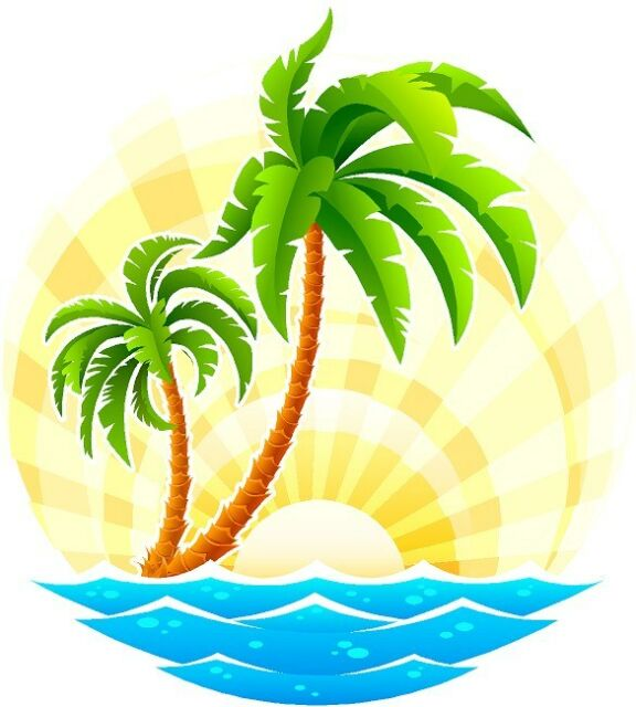 Tropical Palm Tree scene cornhole board game decals.