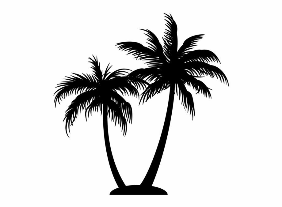 Palm Tree Logo On Black And White.