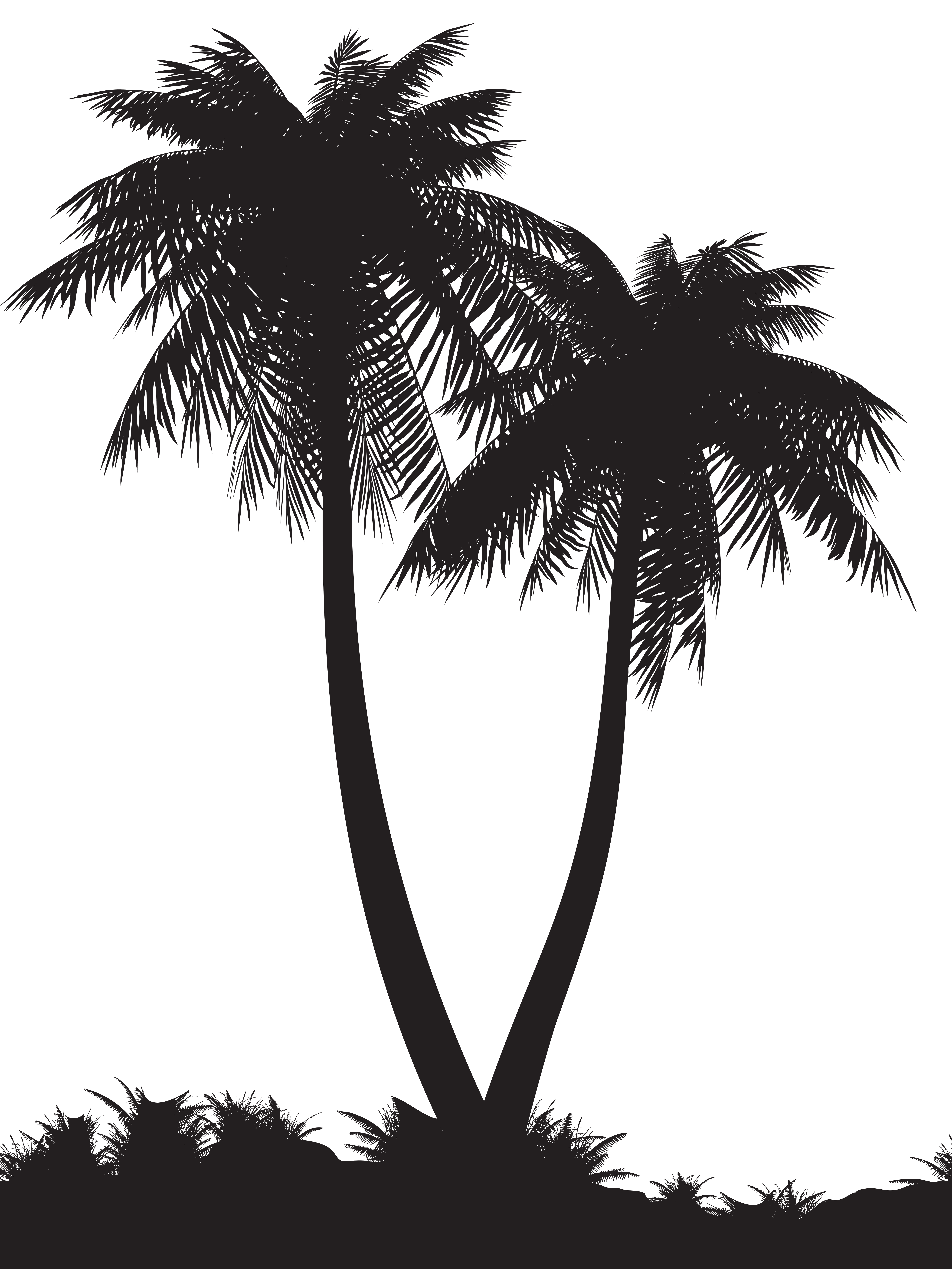 Palm Trees Silhouette Clip Art PNG Image.