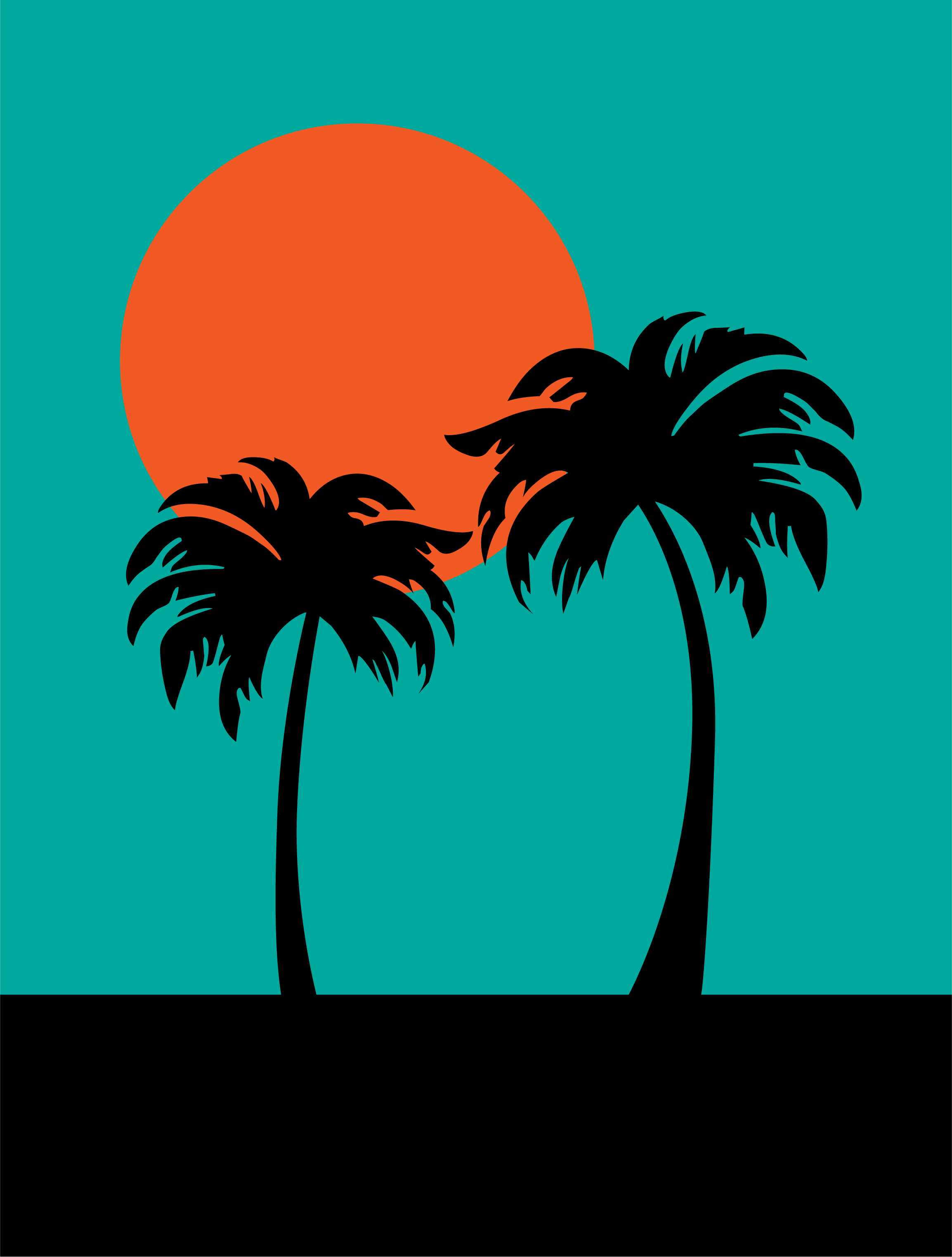 Palm Tree Sun Free Vector Art.