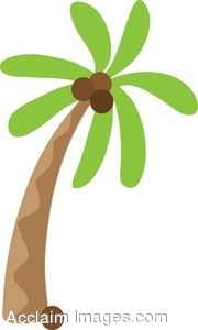 Clip Art Icon of a Palm Tree.