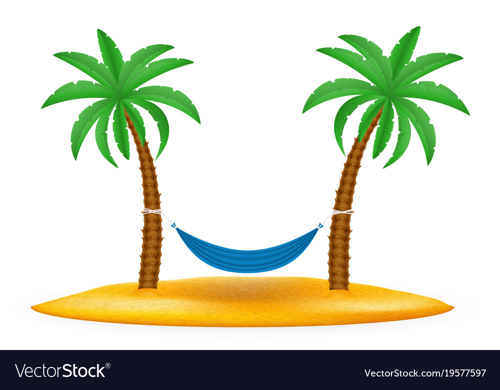 Hammock suspended between palm trees stock.