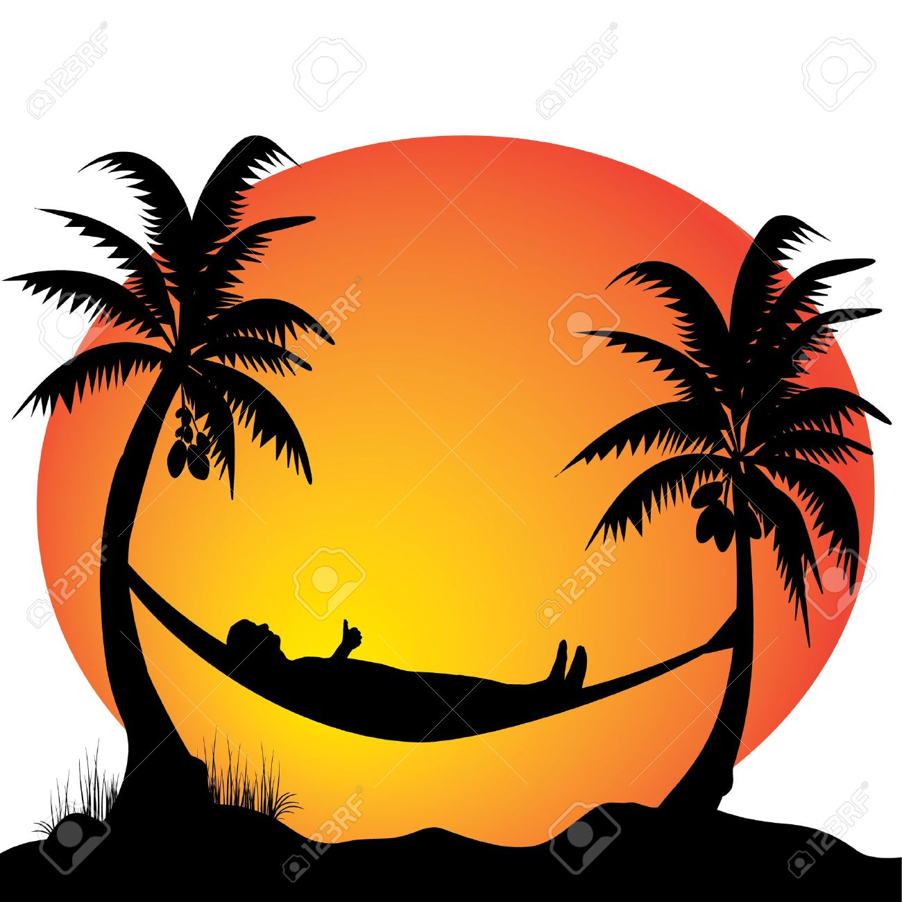 Palm Tree Sunset Drawing.