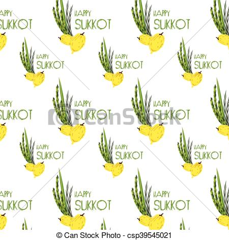 Vector Illustration of Sukkot pattern with Lulav ,Etrog, Arava and.