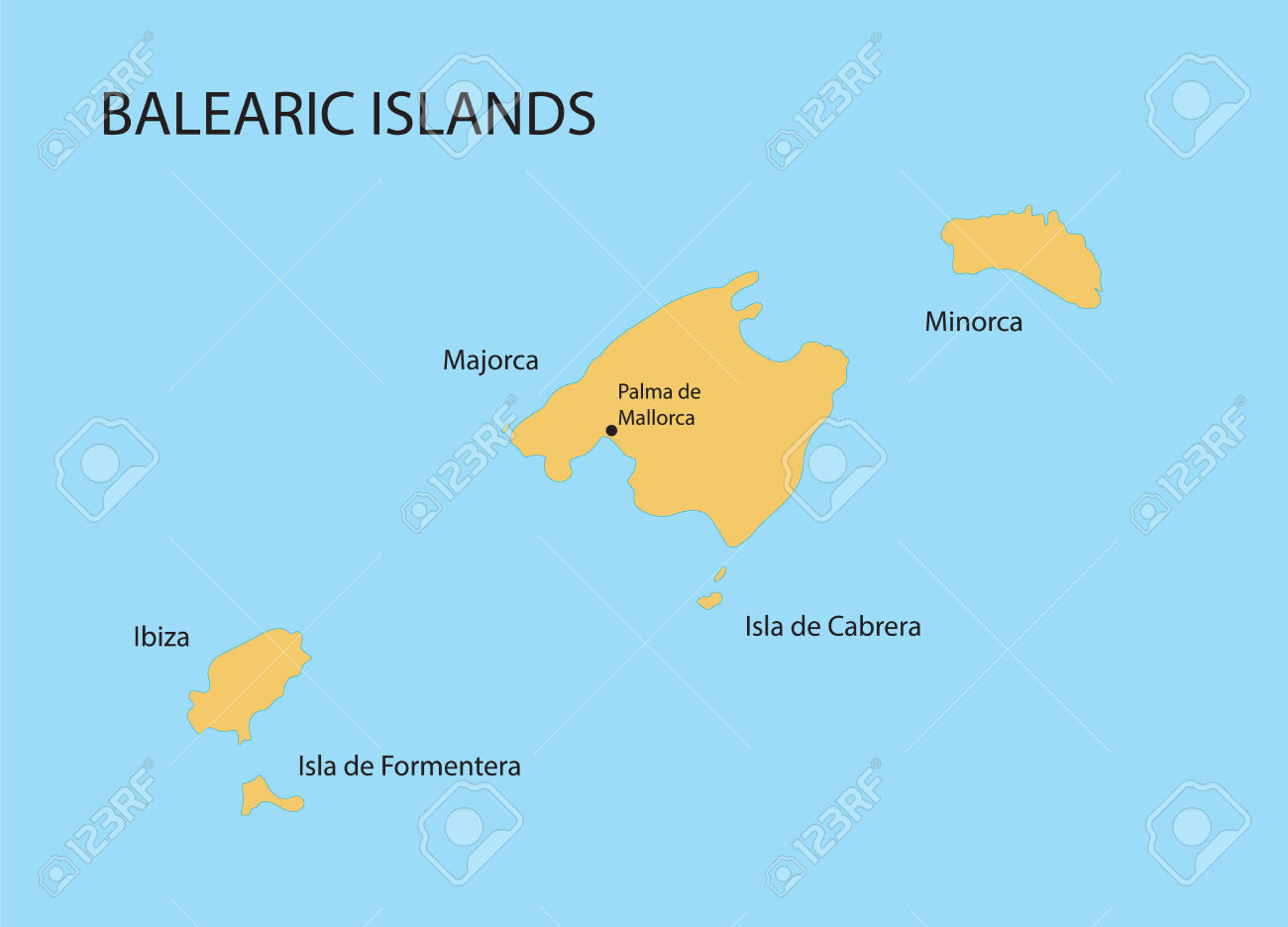 Balearic Islands Map With Indication Of Palma De Mallorca Royalty.