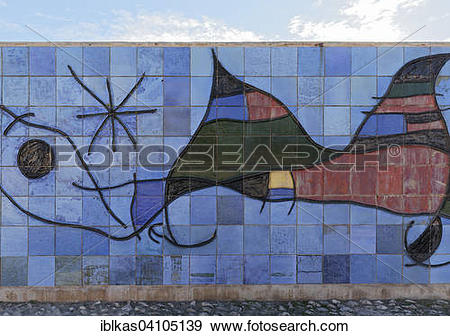 Stock Photograph of Ceramic wall by Joan Miro, Parc de la Mar.