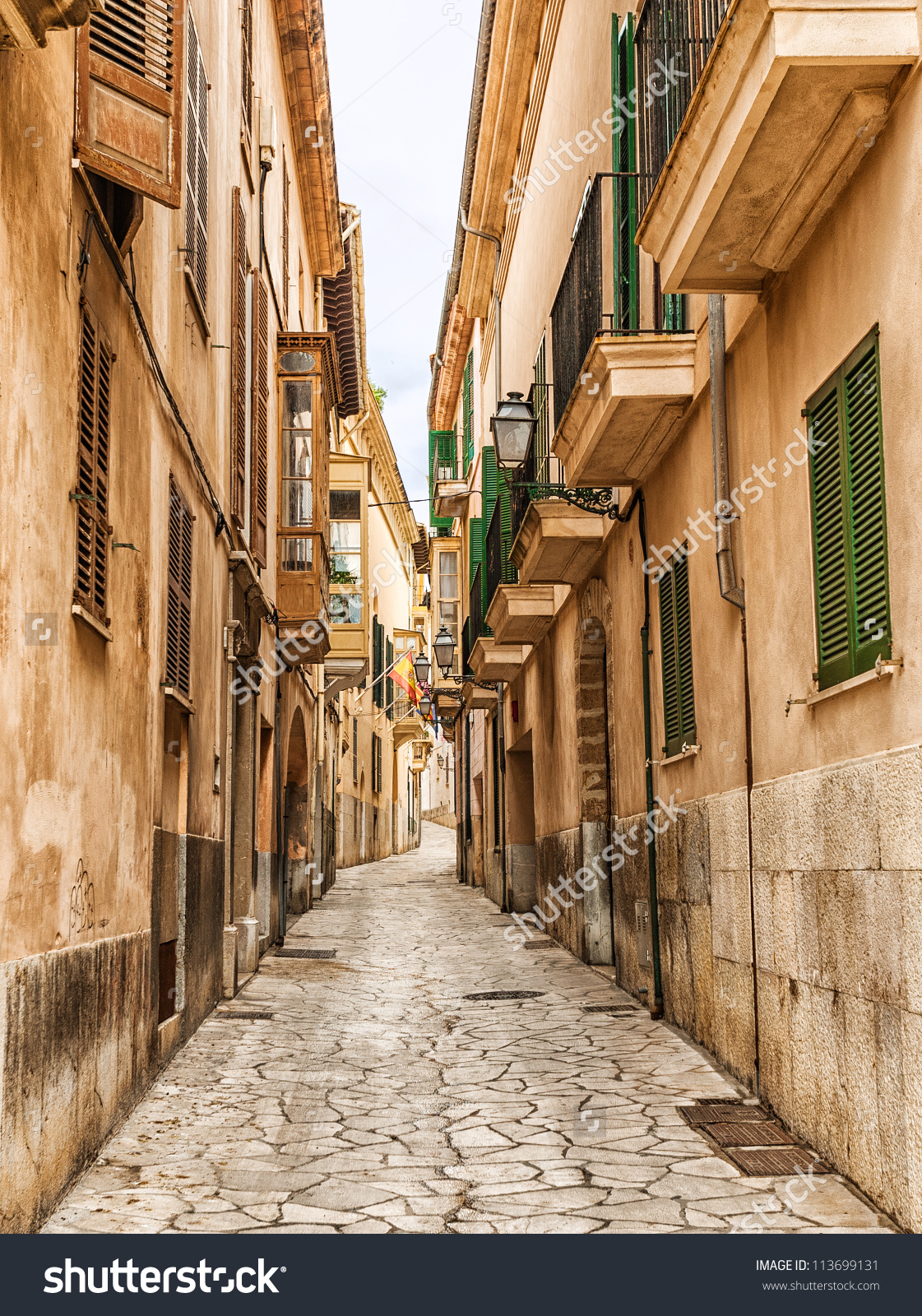 Narrow Street Old Town Palma De Stock Photo 113699131.