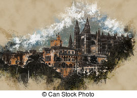 Drawing of Cathedral of Palma de Mallorca csp20868047.