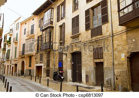 Picture of Palma de Mallorca old city Barrio Calatrava street in.