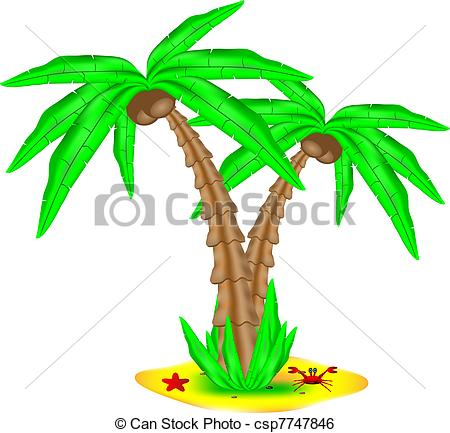 Clip Art Vector of Tropical island with coconut palm isolated on.