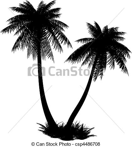 Vector of Silhouette of palms..
