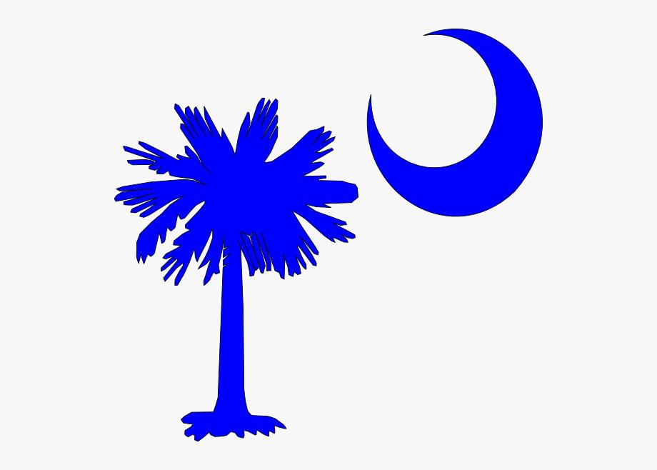 Sc Palmetto Tree Blue Right Side Moon Svg Clip Arts.