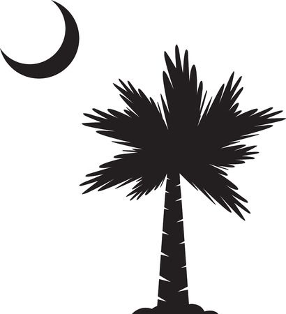 Palmetto Tree And Moon Clipart.