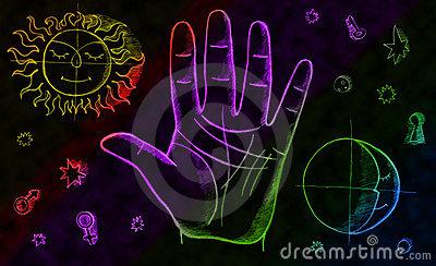 Palmistry Magic Hand Stock Illustrations.