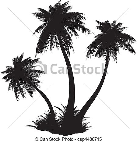 Clipart Vector of Silhouette of palms..