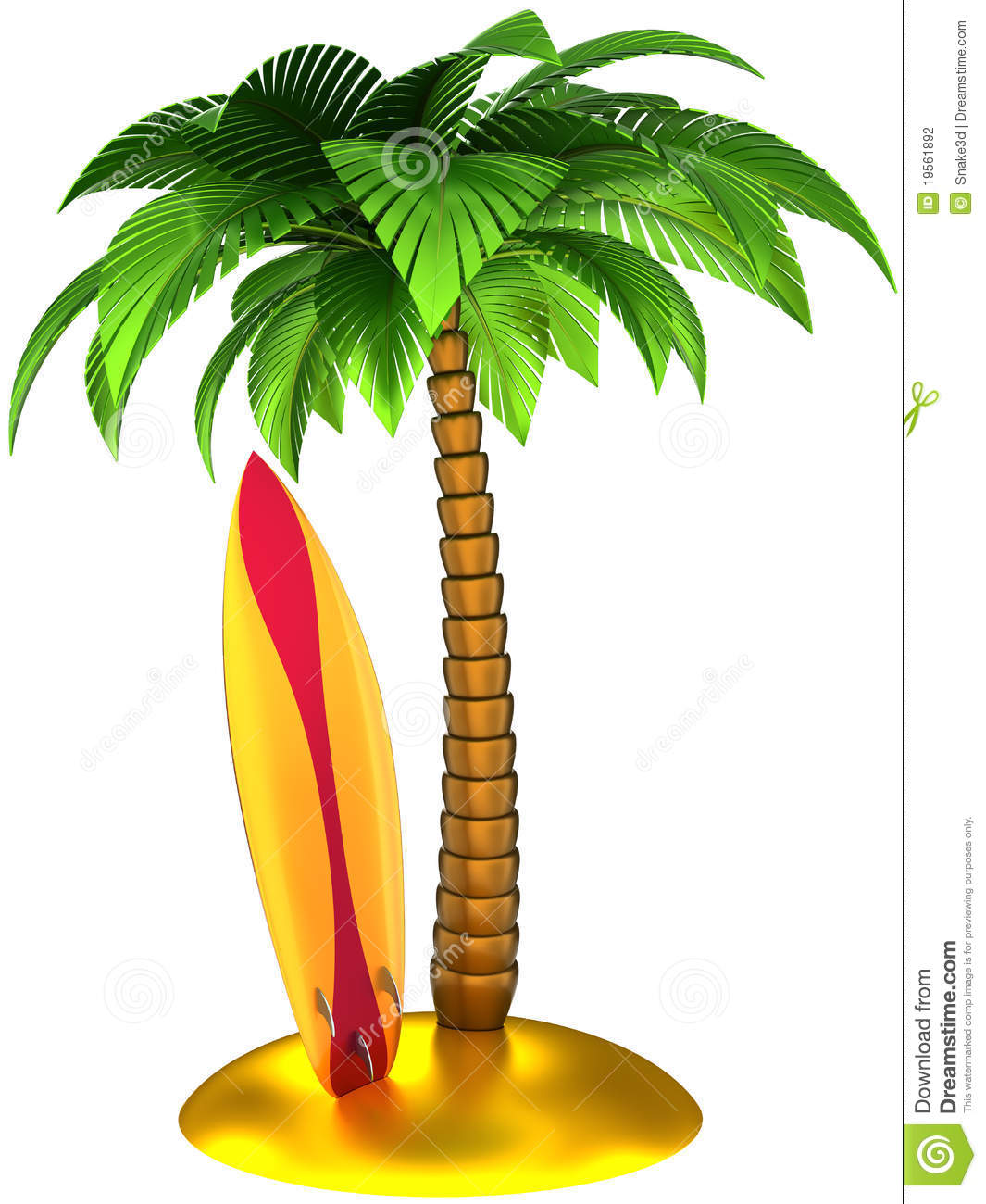 Surfboard palm tree clipart.