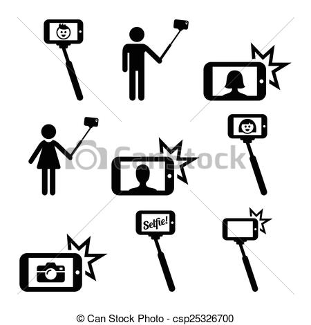 Vector Clipart of Selfie stick with mobile phone.