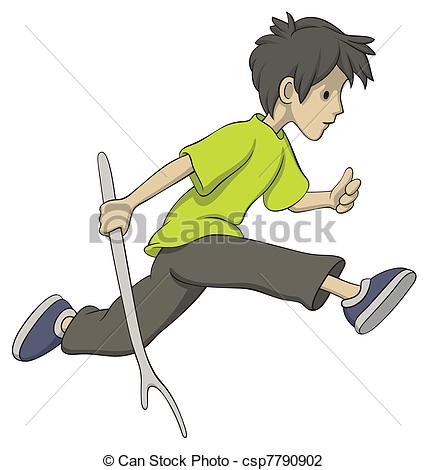 Vector Illustration of Running boy with a stick.