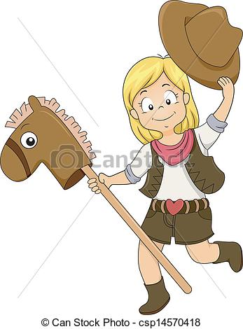 Vector Clip Art of Kid Cowgirl with Toy Horse.