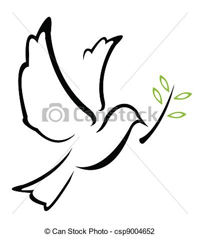 Vector Illustration of Dove Peace Vector csp9004652.