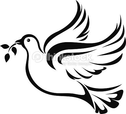 Dove Symbol Of Peace Vector Black Silhouette Vector Art.