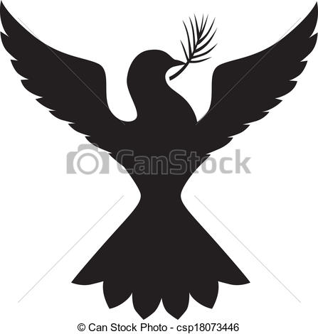 EPS Vector of Silhouette dove with branch.