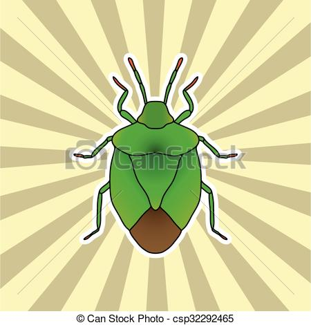 Clip Art Vector of Insect sticker. shield bug. Palomena prasina.