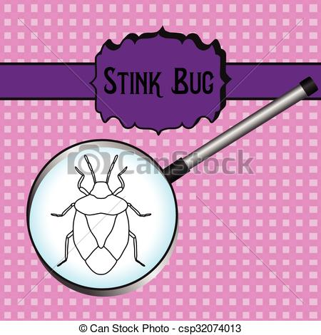 Vector Clip Art of insect in magnifier.shield bug. Palomena.