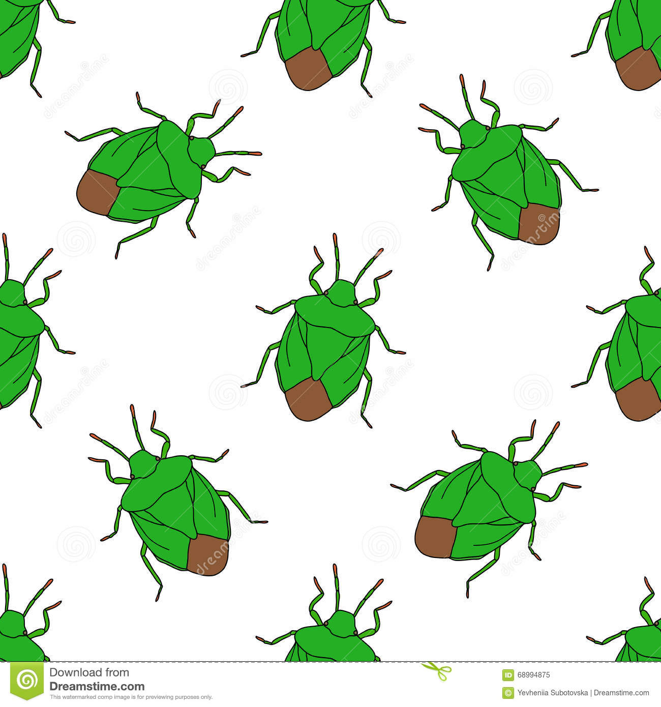 Seamless Pattern With Shield Bug. Palomena Prasina Hand.