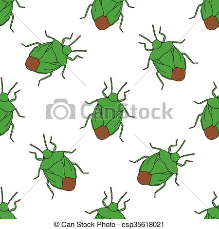 Vector Illustration of Seamless pattern with shield bug. Palomena.